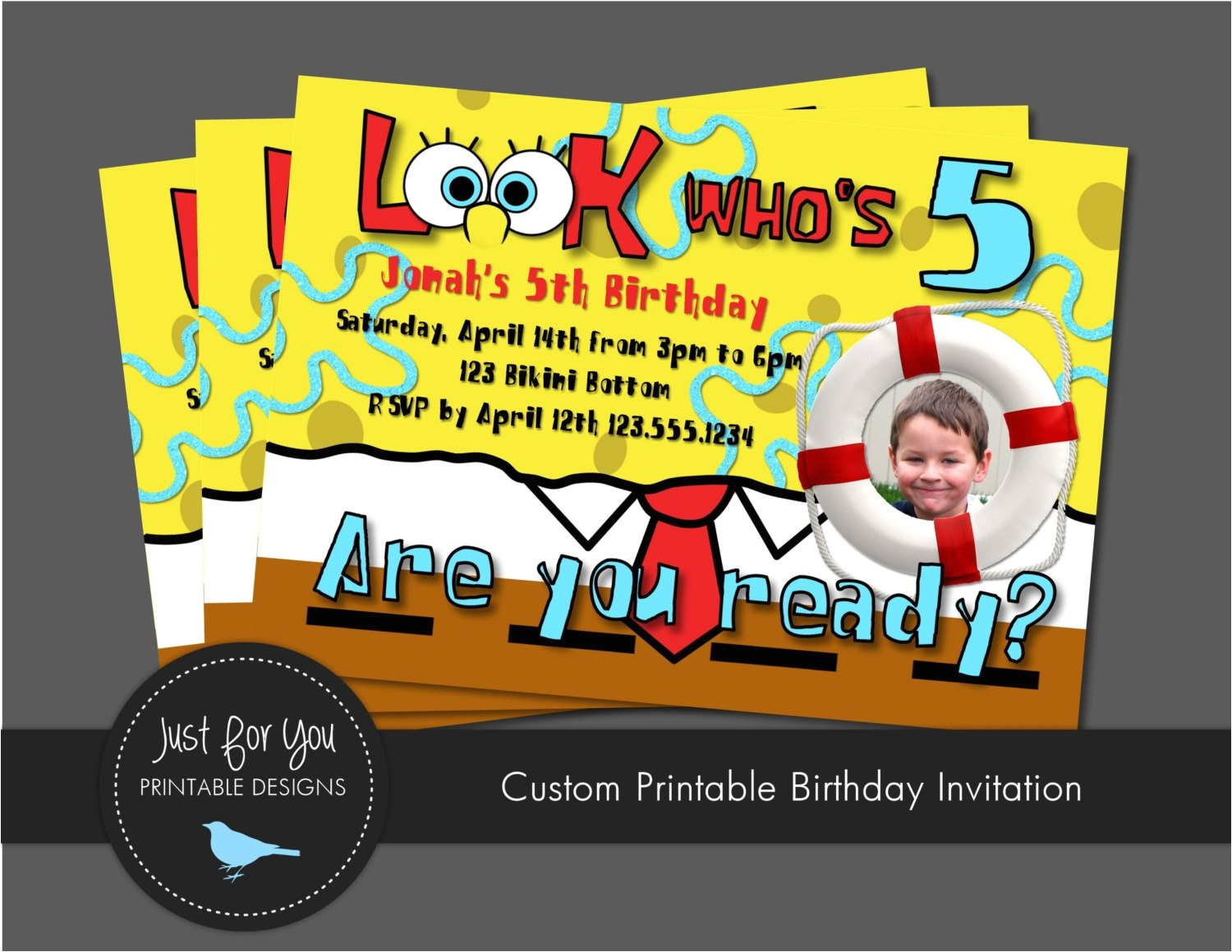 spongebob squarepants birthday invitations