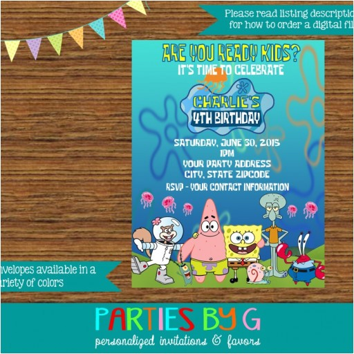 spongebob squarepants birthday party invitations personalized