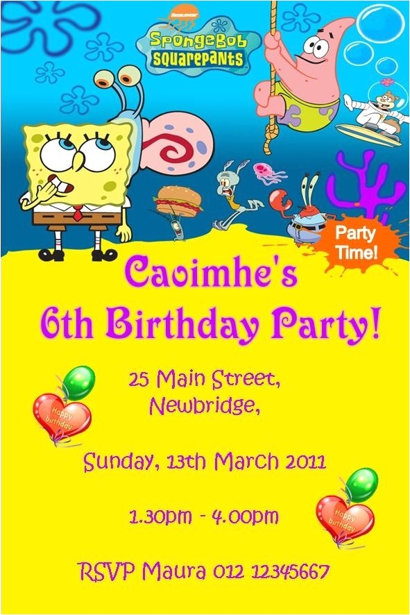 spongebob squarepants invitations 051241251