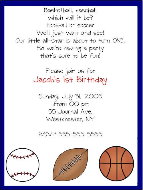 all star sports birthday party invitations