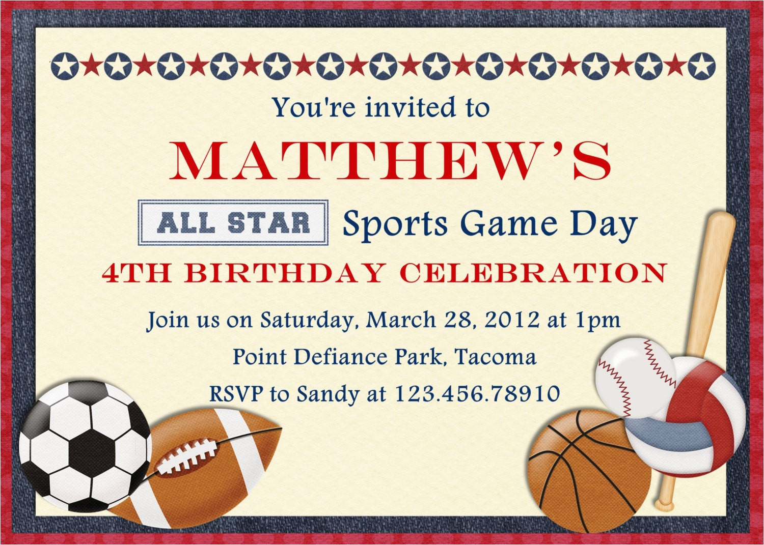 sports party invitation wording