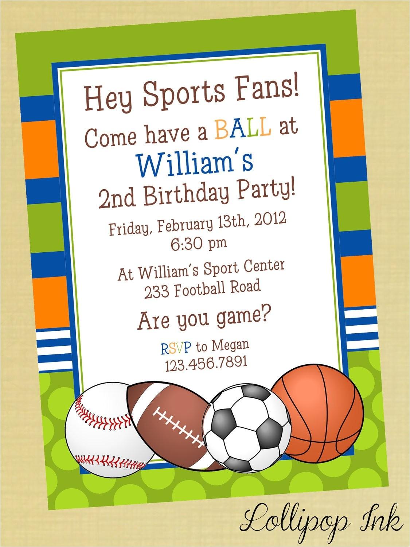 sports printable birthday invitation