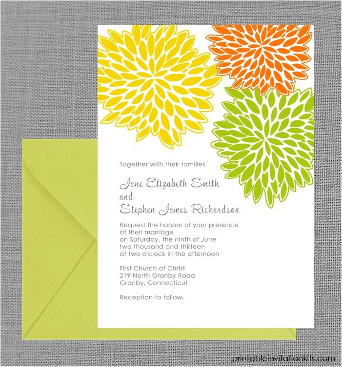 spring wedding invitation petal clusters