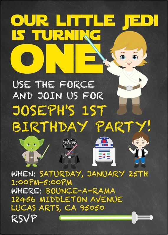 star wars themed birthday party invitation