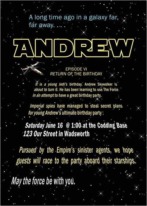 star wars birthday party invitations templates