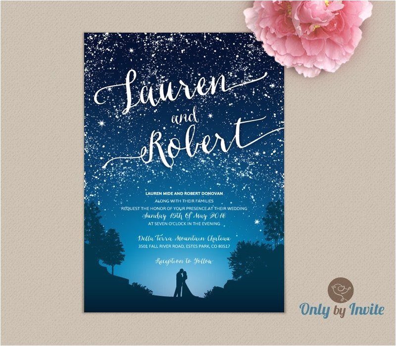 starry night wedding invitation and rsvp