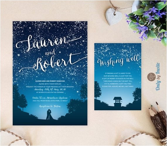 starry night wedding invitation and