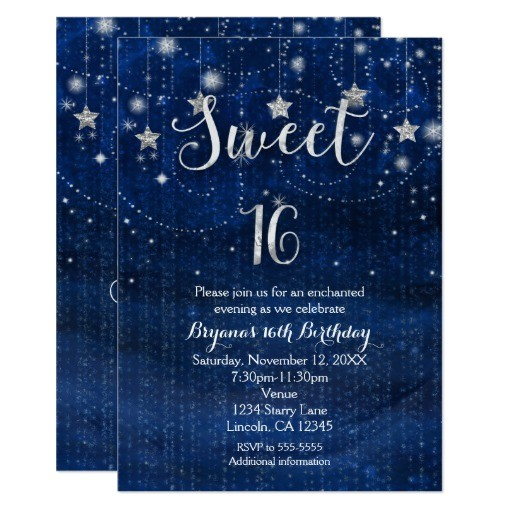 sweet 16 starry night silver blue invitation 256522574425182535
