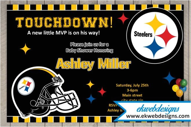 custom pittsburgh steelers baby shower invitations football baby shower