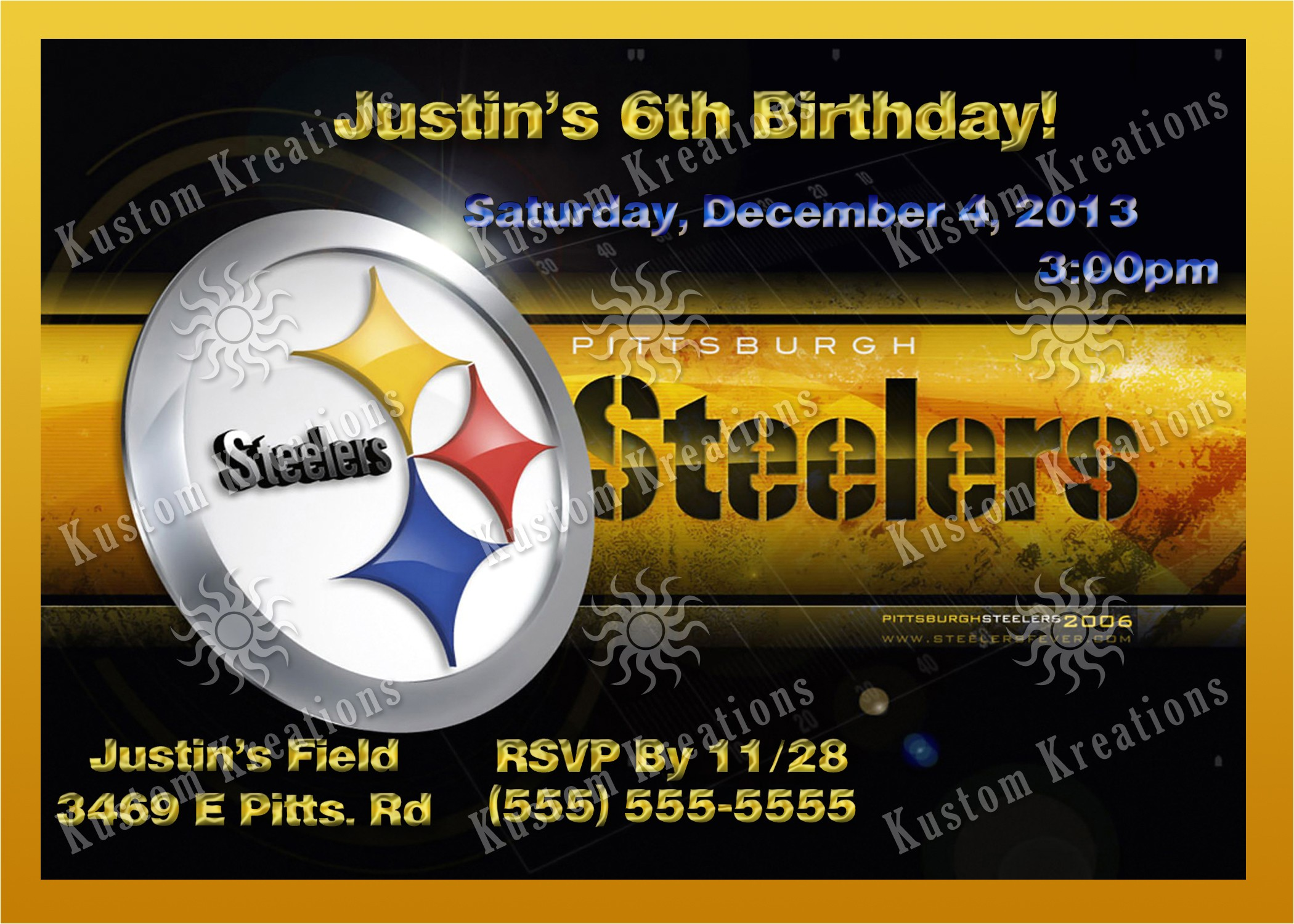 nfl pittsburgh steelers birthday invitation