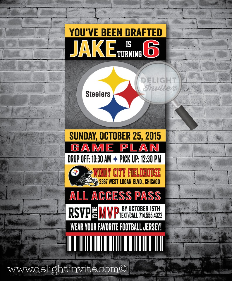 pittsburg steelers football birthday party invitations p 3570
