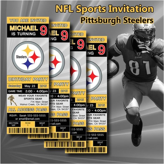Steelers Party Invitations Pittsburgh Steelers Birthday Invitation Football by Digisport
