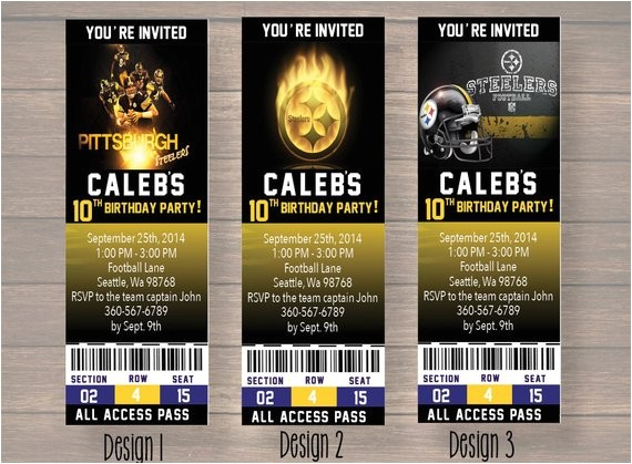 pittsburgh steelers custom party ticket invitations