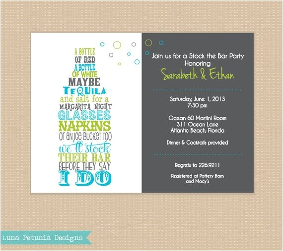stock the bar invitation any colors