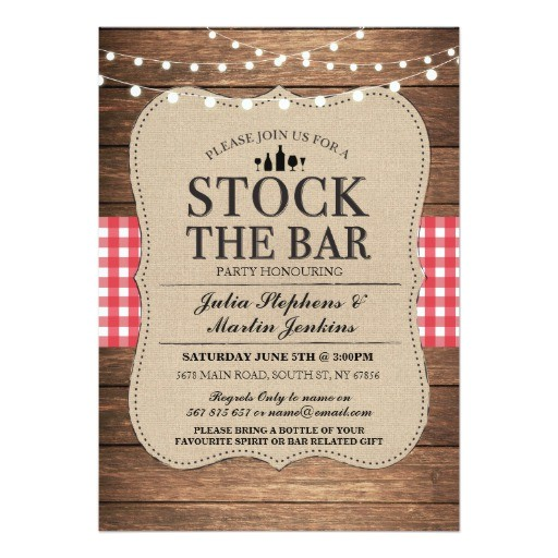stock the bar rustic party engagement invitation 256970899258850182