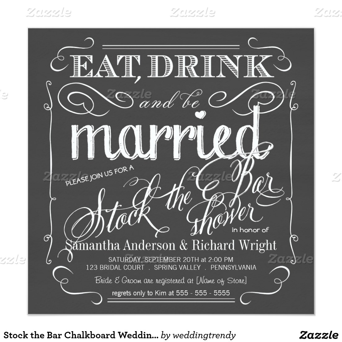stock the bar wedding shower invitations