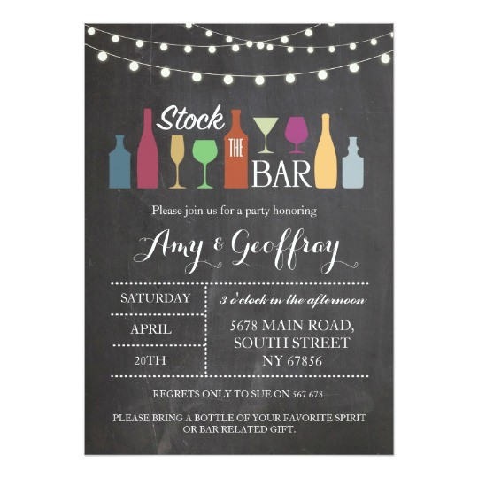 stock the bar chalk party engagement invitation 256828487511625469