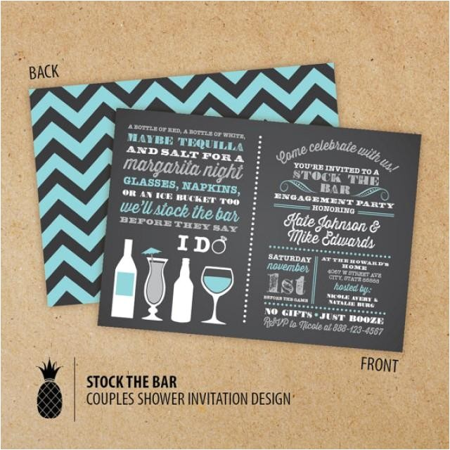 stock the bar couples engagement party invitations