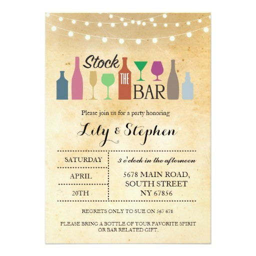 stock the bar lights party engagement invitation 256961675122342309