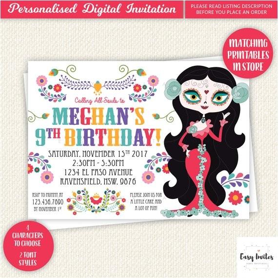 sugar skull birthday invitation day of