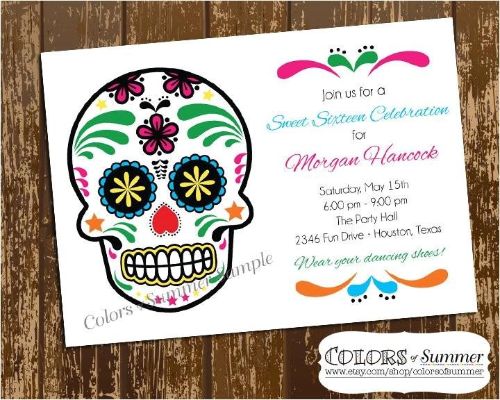 sugar skull birthday invitation sweet