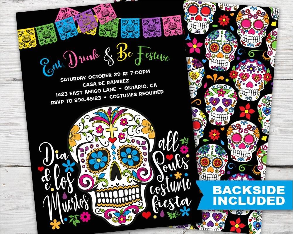 sugar skull party invitation dia de los