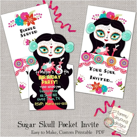 sugar skull party invitation printable birthday party invite day of the dead girls birthday invitation kids birthday party announcement
