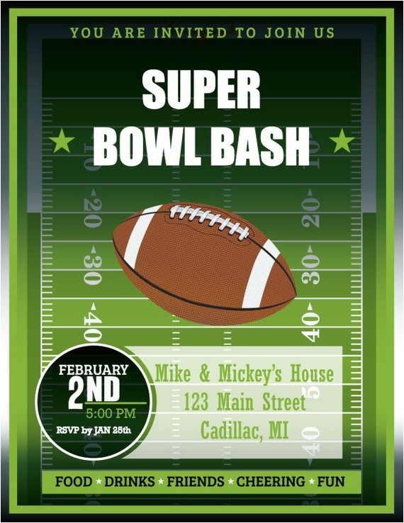 super bowl bash invitation football party