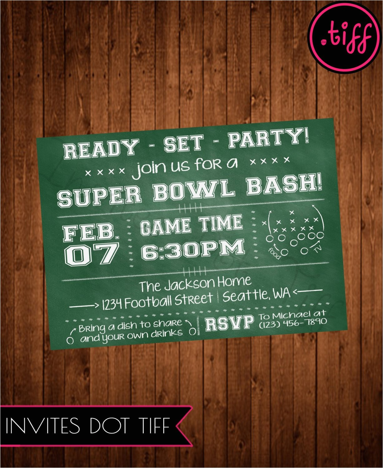 super bowl party invitation printable