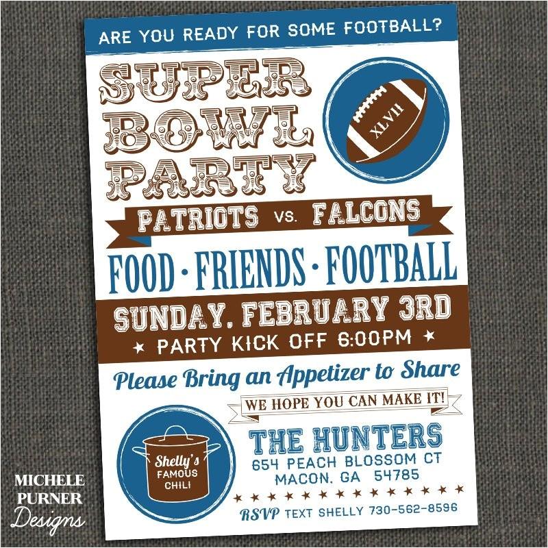Super Bowl Party Invites Michele Purner Designs