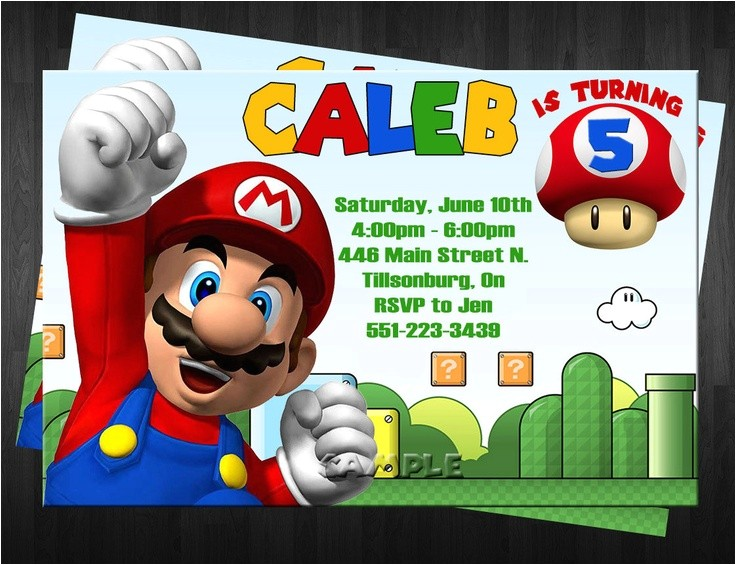 super mario bros birthday invitations
