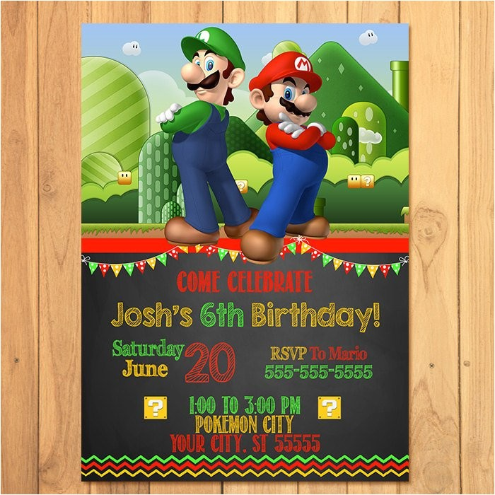 super mario brothers invitation