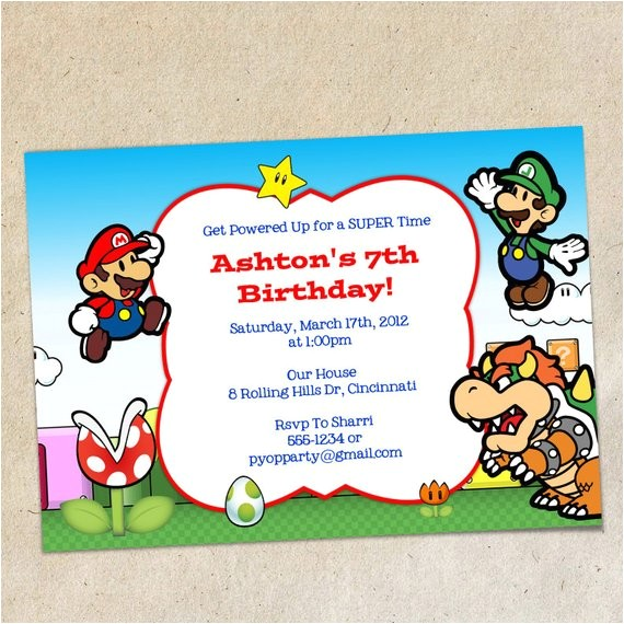 super mario brothers invitation template