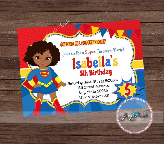 super girl party invitation african