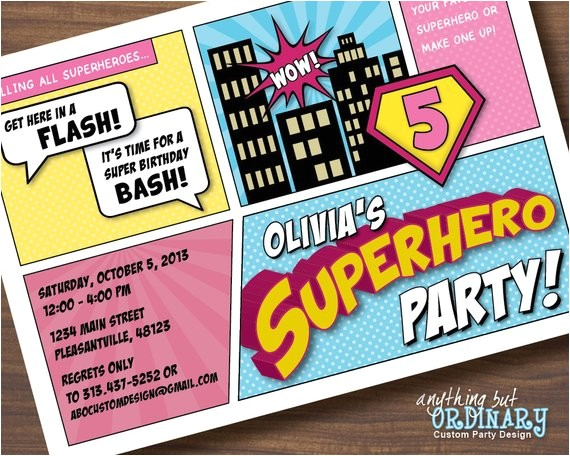 supergirl birthday invitation diy