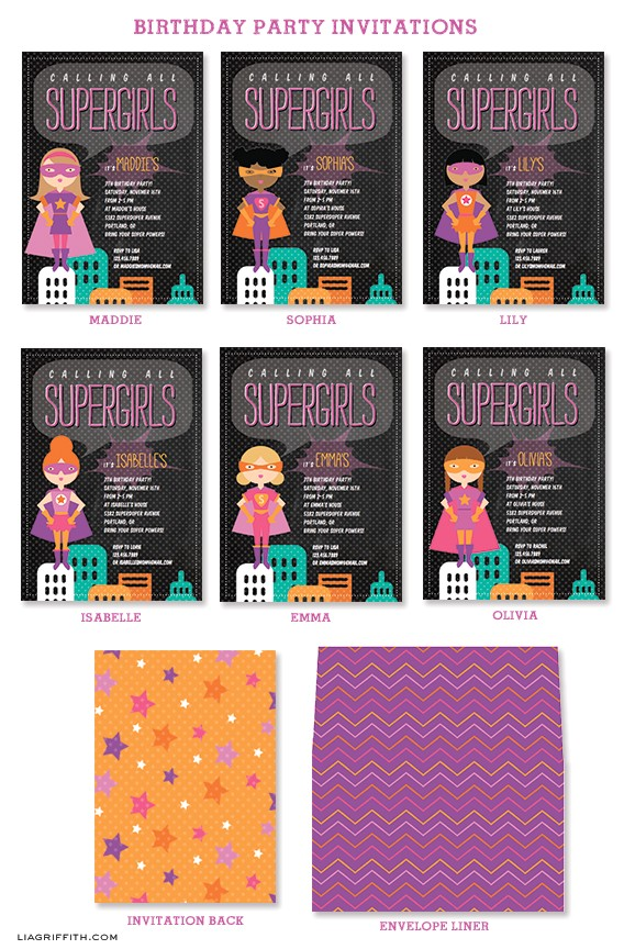 calling all supergirls new birthday party invitations