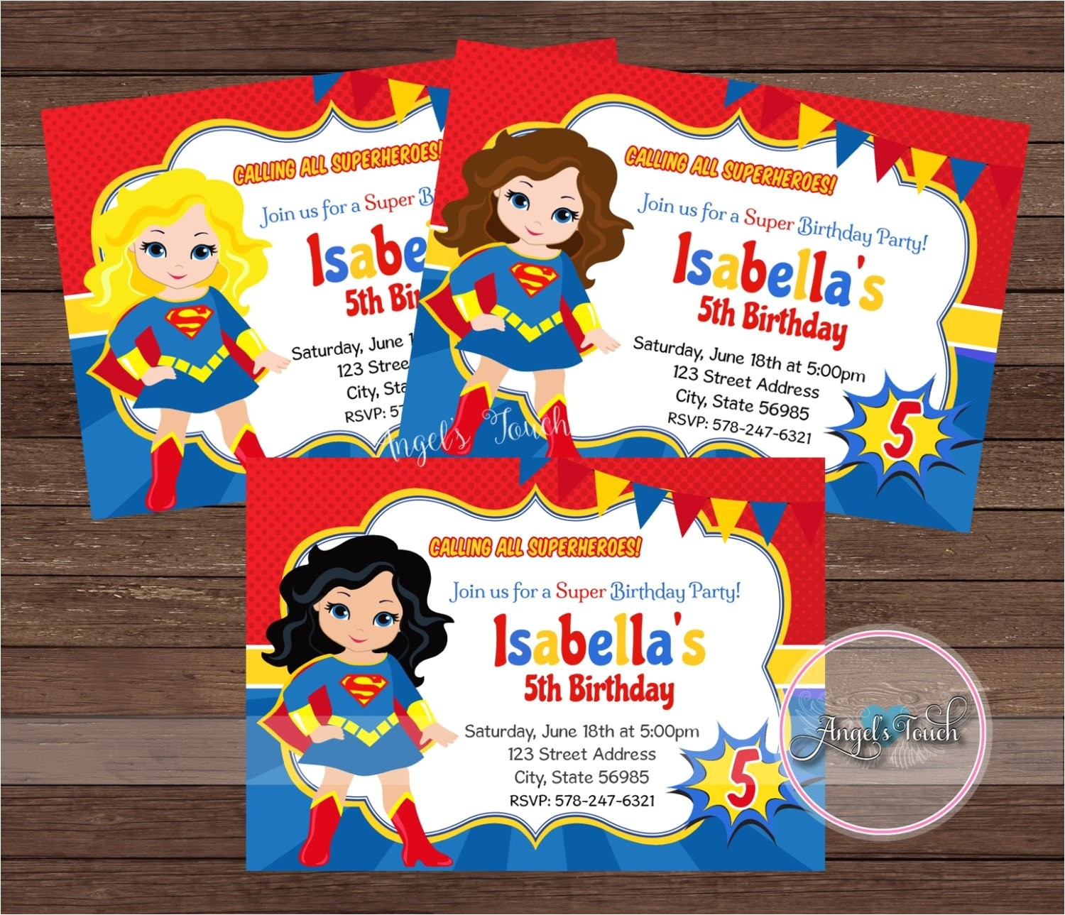 superhero super girl party invitation