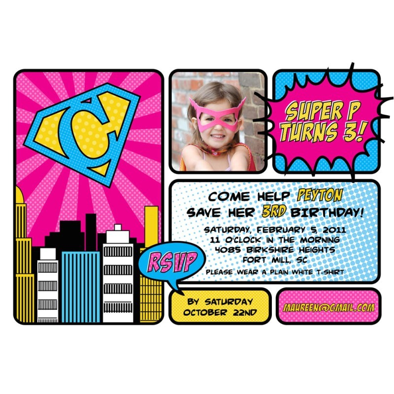 super girl photo party invitation