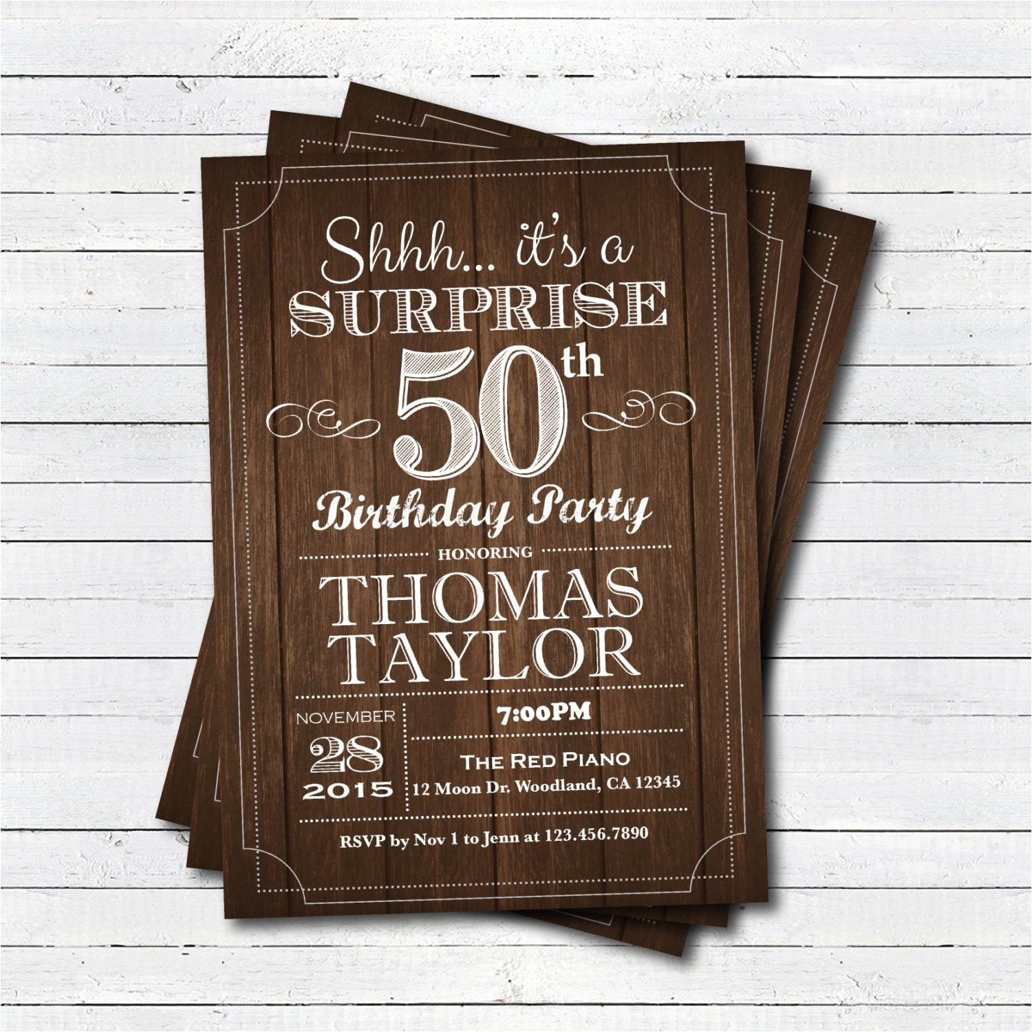 surprise 50th birthday invitation adult