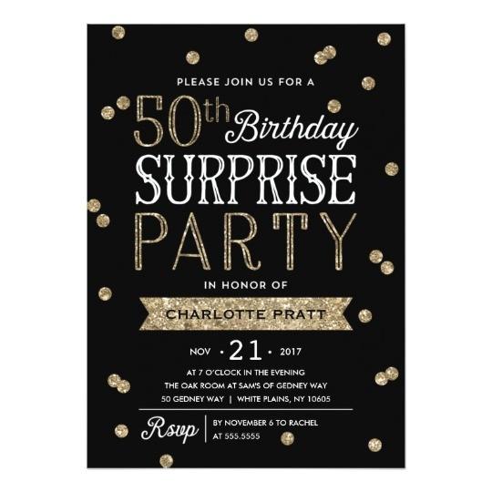50th glitter confetti surprise party invitation 256932165296659314