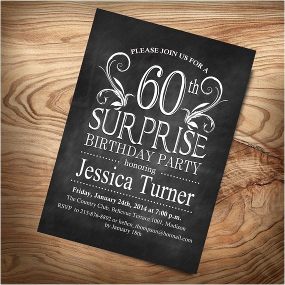 60th surprise birthday invitation diy