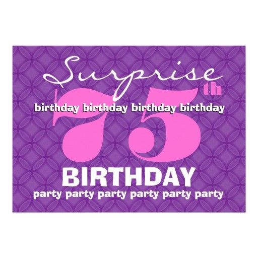 75th surprise purple birthday party s454 invites 161065015516660066