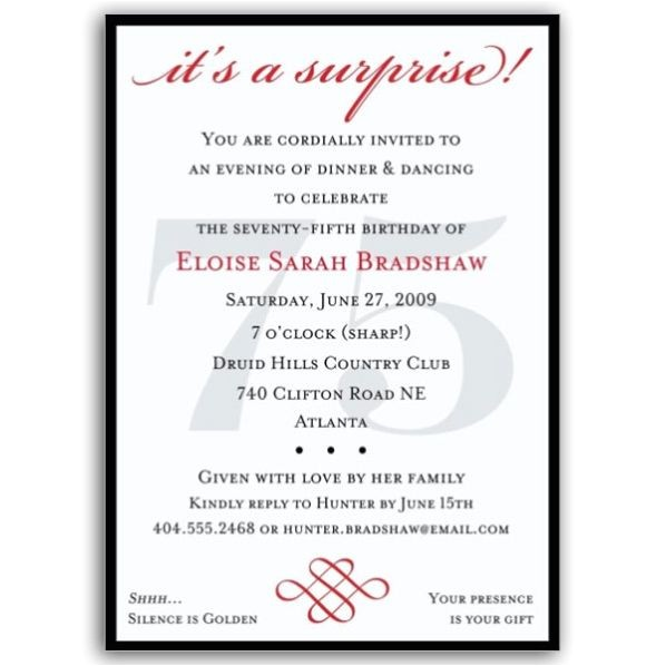 classic 75th birthday red surprise invitations p 607 57 75s