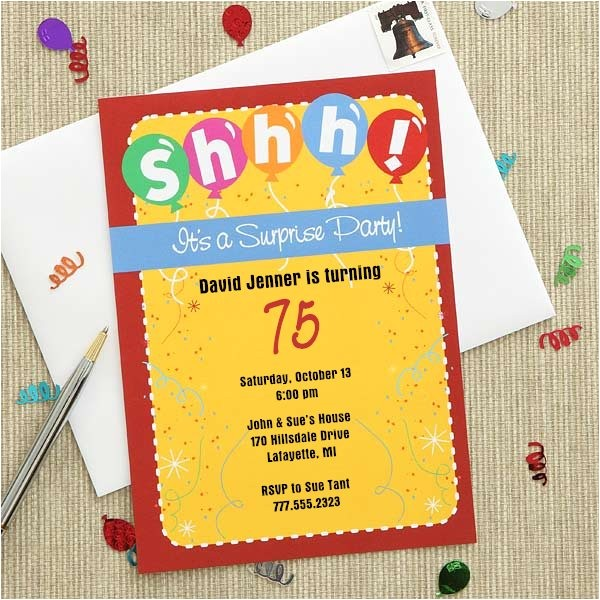 colorful surprise party invitations