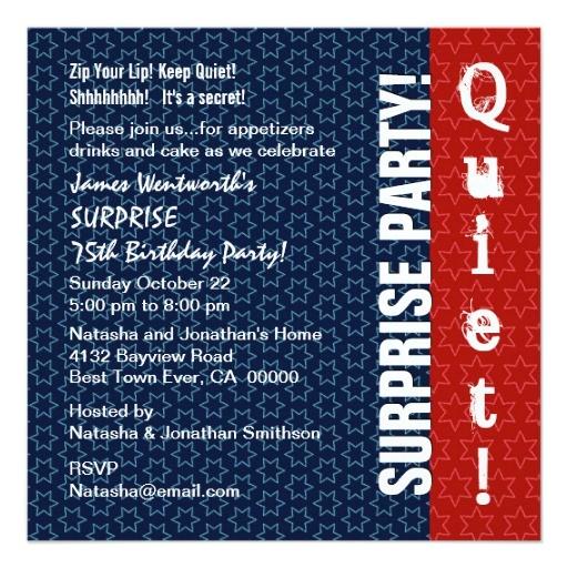 surprise 75th birthday modern red white blue star invitation 161158837091309585