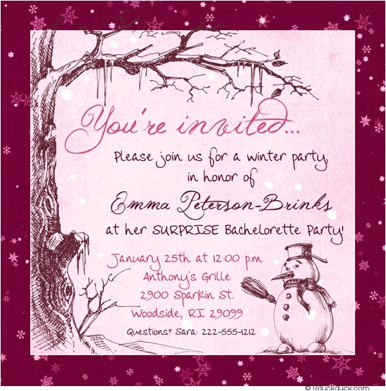 Surprise Bachelorette Party Invitations Winter Pink Bachelorette Party Invitation Beautiful