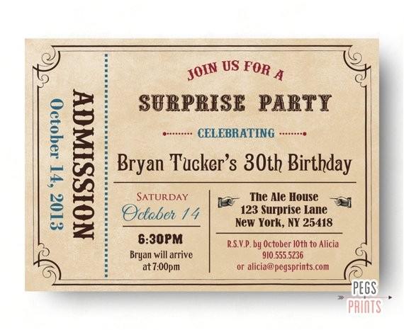 adult surprise birthday invite admit one