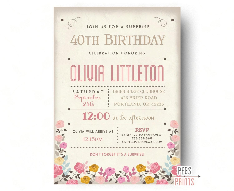 adult surprise birthday invites rustic