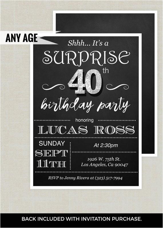 surprise 40th birthday invitation adult birthday
