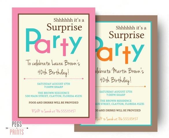 sample surprise birthday invitation